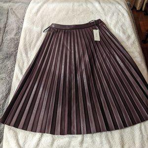 Calvin Klein Pleated Faux Leather Midi Skirt